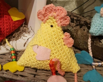 Handcrochet rooster in spring colors