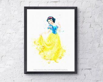 Sale off Fan art Disney princesses, disney princess print Snow White disney watercolor art print digital file