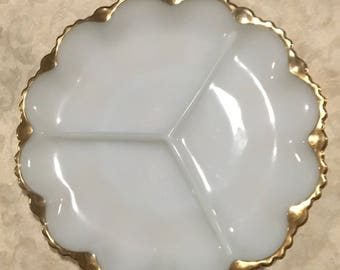 Vintage White Milk Glass Seving Platter With a Gold Ruffled Edge.Manufactured by  Anchor Hocking.