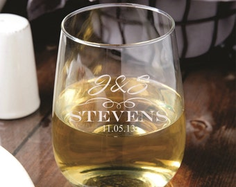 13 Stemless Wine Glasses - Personalized - Bridal Shower - Bridesmaid - Wedding Party - Custom - Custom Etched Gift - Glassware - Engraved