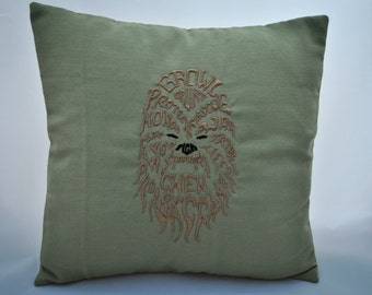 Star Wars pillow, craft, with embroidery of the character Chewbacca, CUSTOMIZABLE COLORS