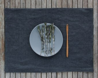 Grey Linen Placemats Set, Linen Table Mat, Linen Table Decor, Pure Linen Placemats, Natural Table Linen, Washed Linen Placemats,