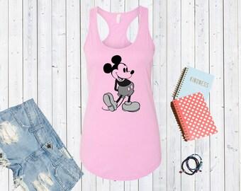 Classic Black & White Mickey Mouse Tank. Super Cute Disneyland Top. Disneyworld Tank. Family Disney Shirts. Vintage Mickey Mouse [E0275]