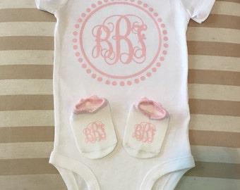 Monogram baby onesie with matching socks