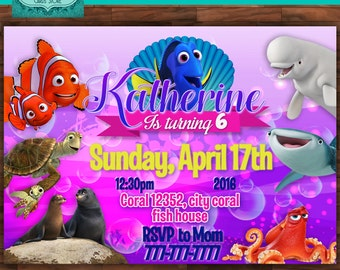 Finding dory personalized digital invitation, finding dory invitation, finding dory party, finding nemo invitation, finding dory birthday