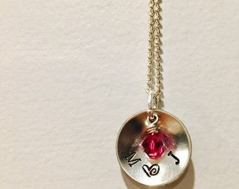 Personalized Pendant, Family Necklace, Hand stamped jewelry,  Personalized Necklace, Mom Necklace, Valentines