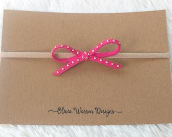 Hot pink studded bow; pink bow; pink studded bow; leather bow; bow headband