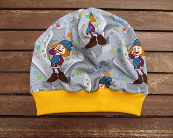 Great Wickie reversible Beanie KU: 53-55 with colorful stars. for boys and girls with cuffs and waistband of fabric & love handcrafted