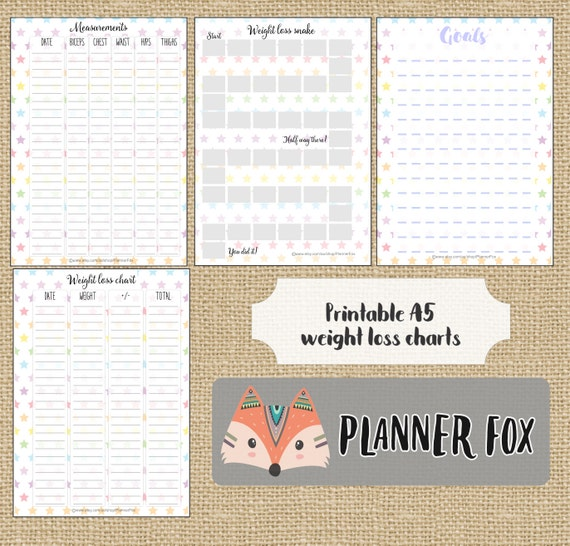 A5 Planner Inserts Printable Weight Loss Charts