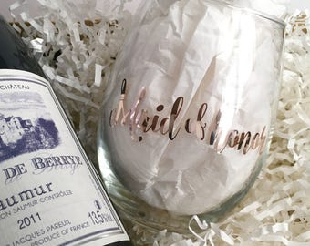 Personalized Future Mrs Wine Glass - Rose Gold Foil Bridal Shower Gift- Custom Rose Gold Stemless Glass - Maid of Honor Matron
