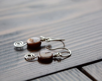 Round Wood Inspired Bead with Silver Hammered Swirl Earrings