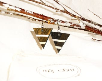 Graphic earrings leather full-grain lamb black and silver