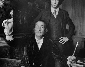 RARE SALVATORE DALI Photo Yves St Laurent Vintage Gothik Decor Artist Black and White Photo Print Surrealist Artist Fashion Designer