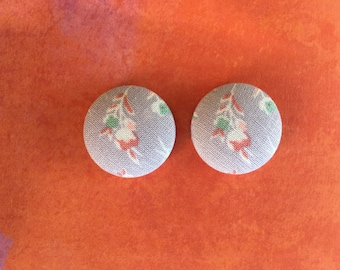 Flowers on Lilac Fabric Button Earrings