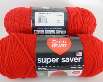 Cherry Red -  Red Heart Super Saver yarn worsted weight - 2051