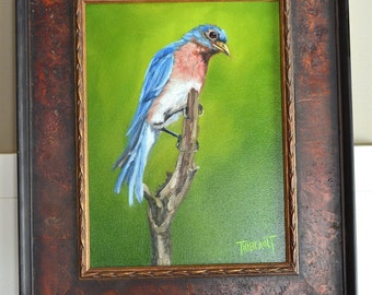 "Original Artwork Framed Oil Painting ""Bluebird"""