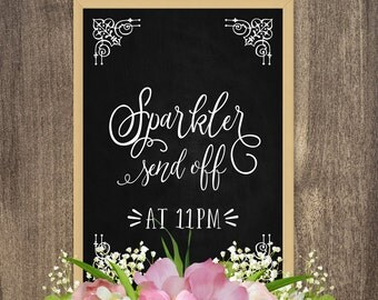 Sparkler send off sign, Wedding sign, Sparkler send off printable, Custom wedding signs, Personalized wedding signs, Custom chalkboard signs