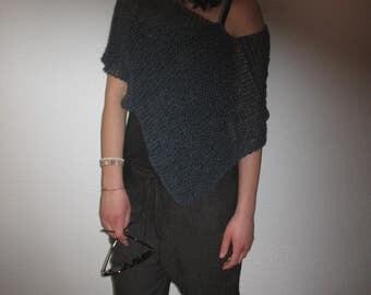 spring poncho, autumn poncho, poncho wool, acrilyc, fashion poncho, a gift for a woman, blue poncho