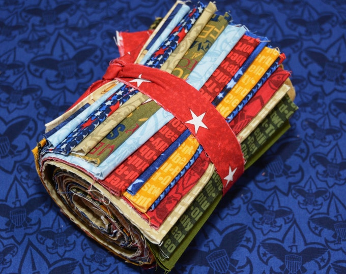 "Robert Kaufman Registered Boy Scout Fabric - 100% Kona Cotton - RARE - 6"" x 44"" Strips - 22 Prints"