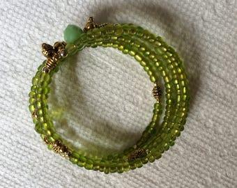 Matte green memory wire bracelet