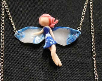 Necklace blue fairy - polymer clay - fimo - fancy jewel - kawaii - room single