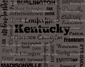 Kentucky Cities fabric yardage - KY typography fabric by the yard - gray and black - blue and black