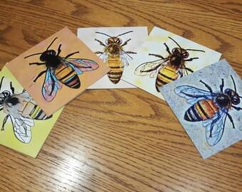 Set of 5 Honey Bee cards