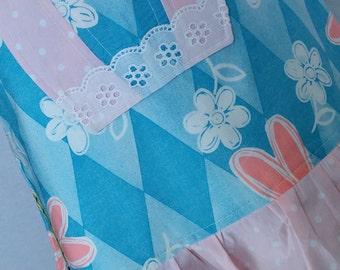 women's apron, plus size apron, blue apron, tall apron