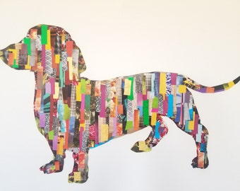 Dachshund Decoupage Wall Art