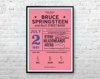 Bruce Springsteen Print, Bruce Springsteen Art, Concert Poster, Springsteen Poster, Ticket Stub, Concert Poster