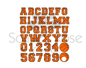 Basketball letters font and numbers SVG cut file for silhouette cameo and cricut