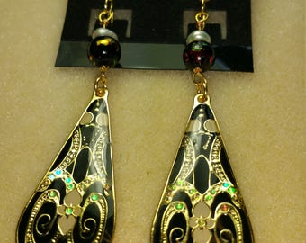 Black & Brass Dangle Earrings