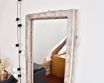 Mirror from an old window frame French Country shabby chic blue Country old wood farmhouse loft  wall decor cottage chic white silver