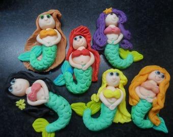 6 Sugar Paste Mermaids