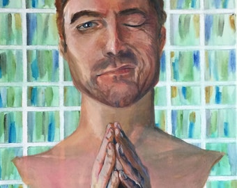 Symbolic art, Man's face, Acrylic painting on canvas, Giclee print - Prayer, interrupted
