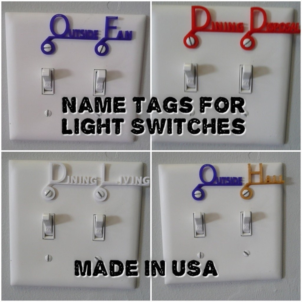 Custom Light Switch Cover Name Tag Label Choose 4 Labels 3D