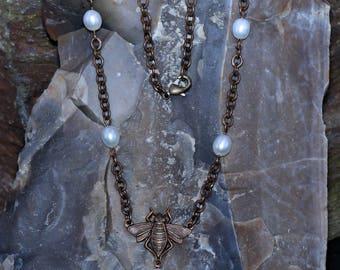 Vintaj Bee & Freshwater Pearl Necklace