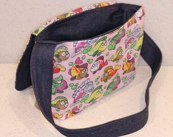 Children's Bag Reversible Messenger - Cross Body Bag - Fishes