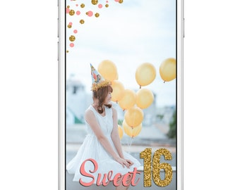 Sweet 16 Snapchat Geofilter | 16th Birthday | Pink & Gold | Instant Download
