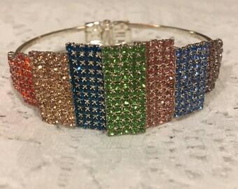 Rainbow Austrian Crystal Cuff Bracelet