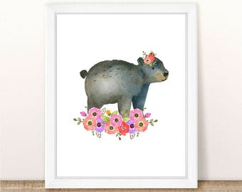 PRINTABLE Girl Bear Nursery Art Print, Bear Art Print Girl, Floral Bear Nursery, Woodland Girl Nursery, Girl Pink Bear Wall Art, Pink Floral