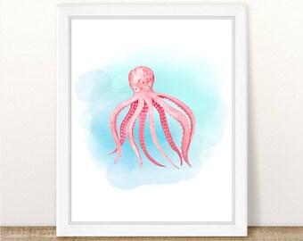 PRINTABLE Watercolor Octopus Art Print, Sea Animal Nursery Print, Marine Nursery, Ocean Nursery Wall Art, Pink Octopus Nursery Art Printable