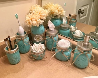 Great 7 Piece Painted Decorated Mason Jar Rustic Shabby Chic Burlap Bathroom  Kitchen Set