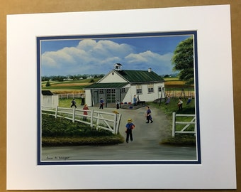 Snake Hill Amish School Oil Painting Print