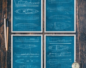 Set of Four Lake House Decor Prints, Blueprint Wall Art, PRINTABLE Download, Nautical Print Decor, Instant Cabin Sign (#16528c-32b)