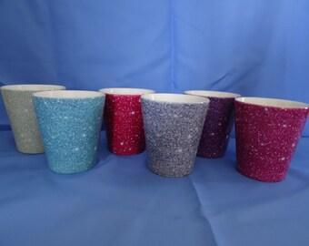 Glitter effect latte mugs