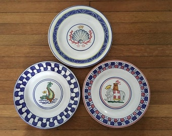 Trio of Hand Painted Italian Decorative Plates