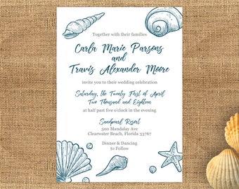 Wedding Invitation Template Word Nautical Beach Shells - Windsor