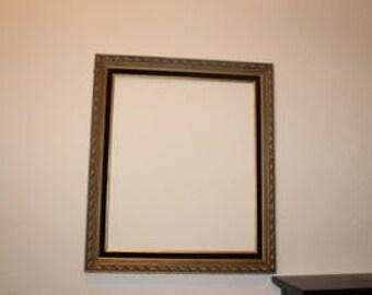 Antiqued Gold Wood Frame with Black Detailing