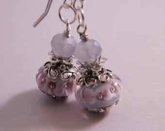 Pink and Pale Grey Lampwork Earrings * Glass Earrings * Artisan Glass Jewelry * Pink Grey Jewelry * Lampwork Earrings * Murano Glass Earring